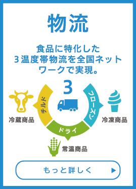 物流:食品に特化した3温度帯物流を全国ネットワークで実現。